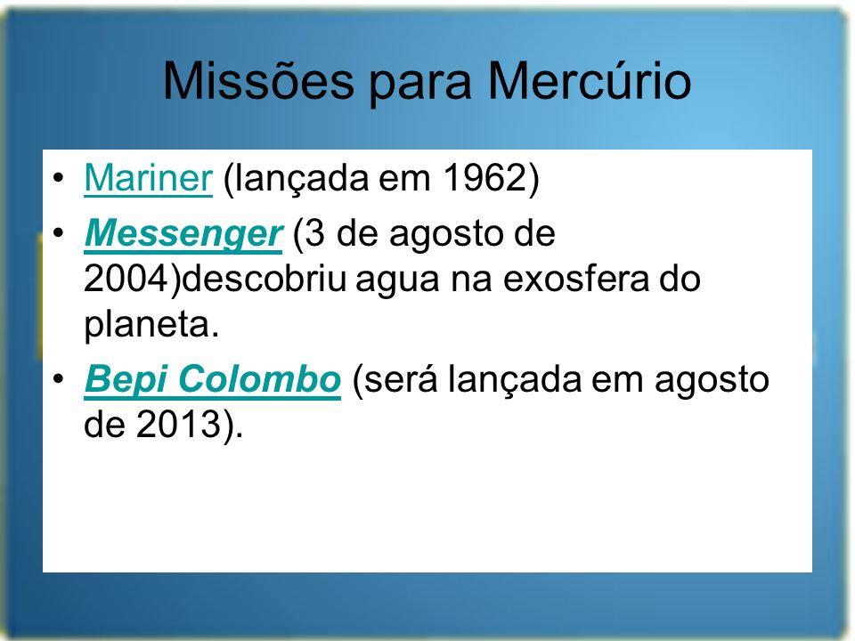 Missões para Mercúrio Mariner (lançada em 1962)