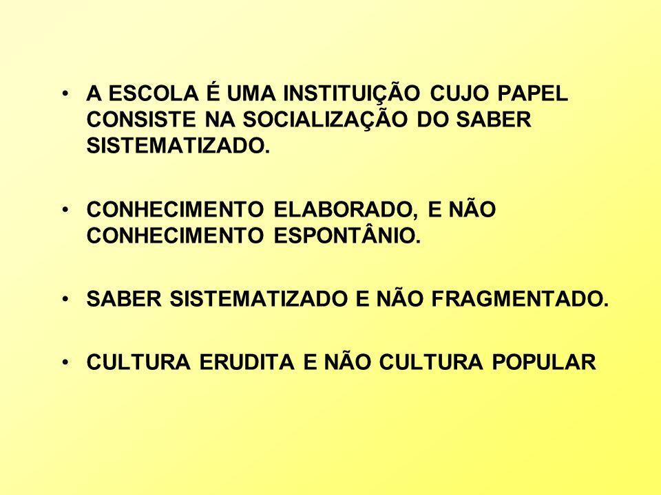 A ESCOLA É UMA INSTITUIÇÃO CUJO PAPEL CONSISTE NA SOCIALIZAÇÃO DO SABER SISTEMATIZADO.