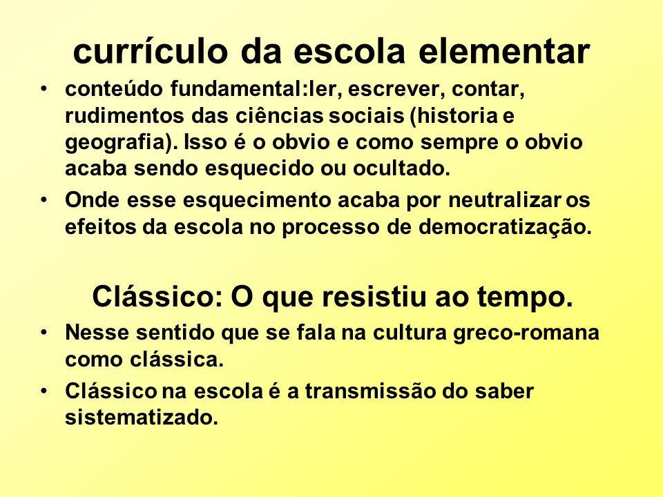 currículo da escola elementar