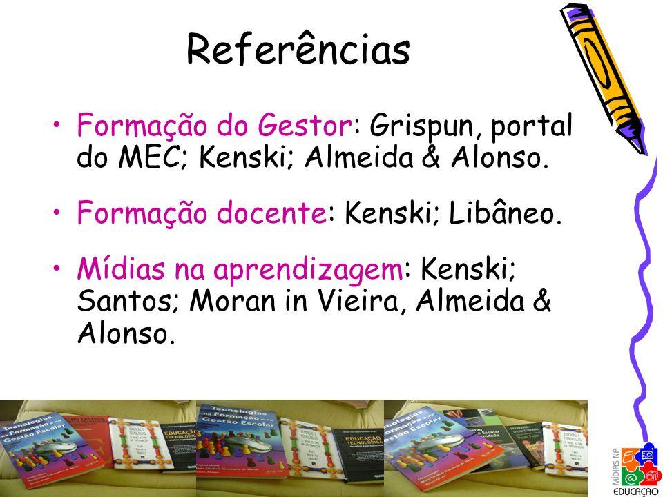 Referências Formação do Gestor: Grispun, portal do MEC; Kenski; Almeida & Alonso. Formação docente: Kenski; Libâneo.