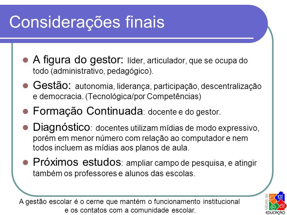 Considerações finais A figura do gestor: líder, articulador, que se ocupa do todo (administrativo, pedagógico).