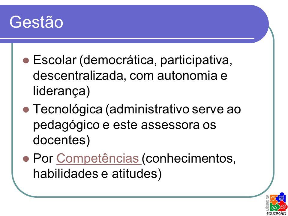 Gestão Escolar (democrática, participativa, descentralizada, com autonomia e liderança)