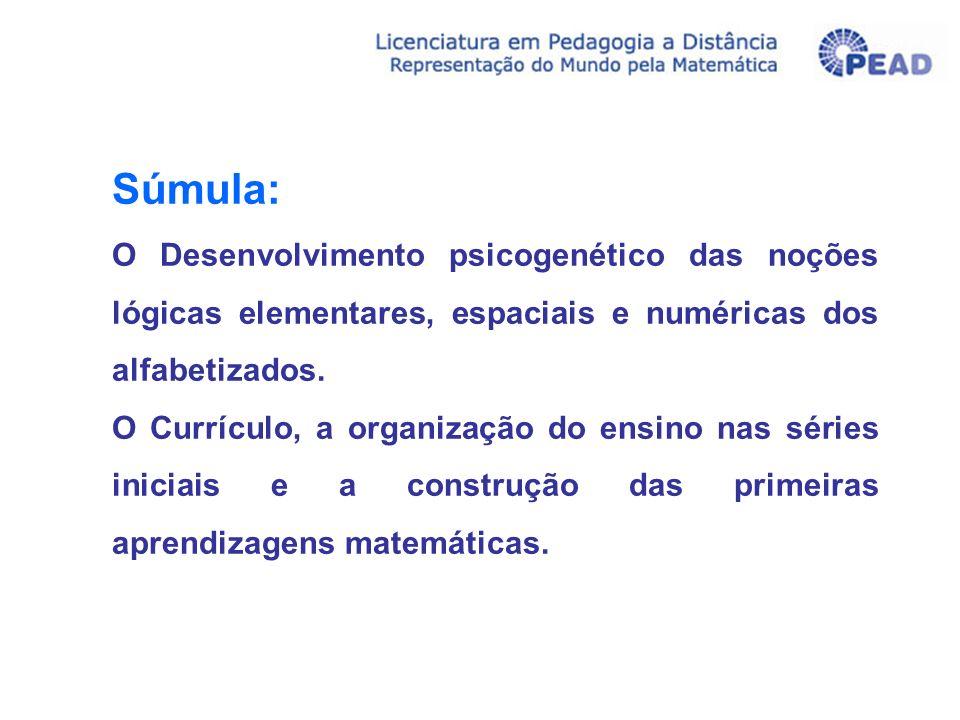 Súmula: O Desenvolvimento psicogenético das noções lógicas elementares, espaciais e numéricas dos alfabetizados.