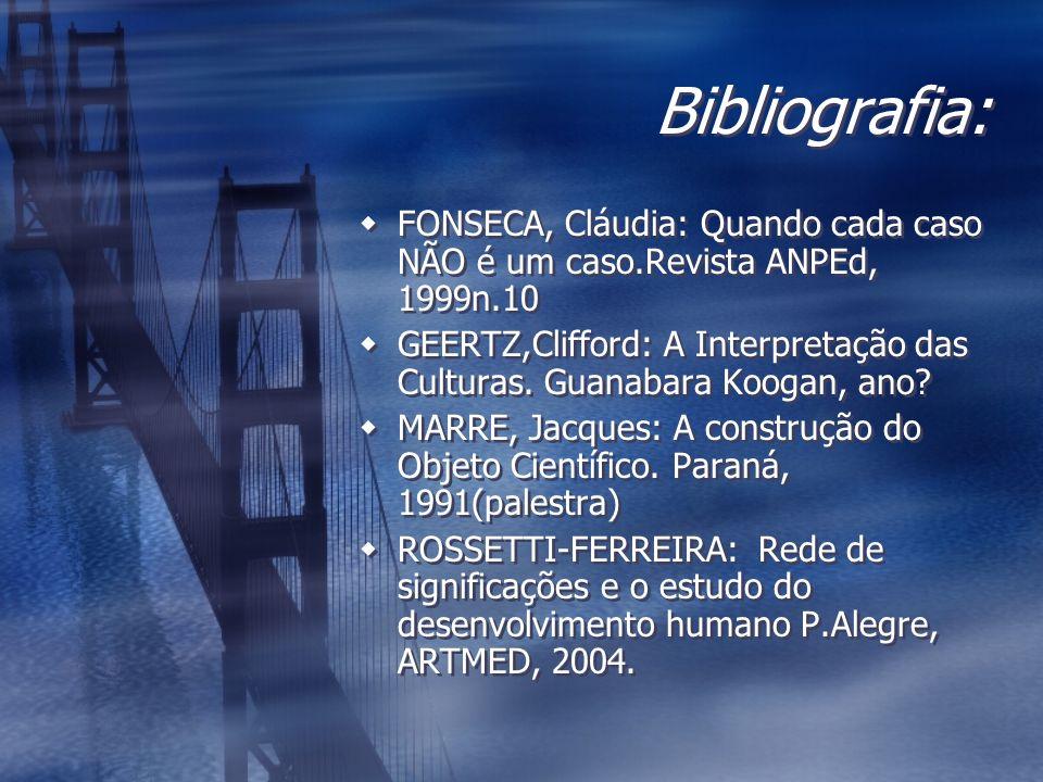 Bibliografia: FONSECA, Cláudia: Quando cada caso NÃO é um caso.Revista ANPEd, 1999n.10.
