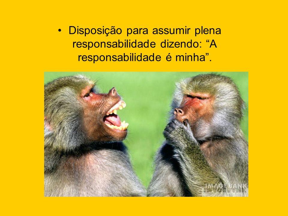 Disposição para assumir plena responsabilidade dizendo: A responsabilidade é minha .
