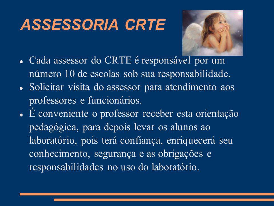 ASSESSORIA CRTE Cada assessor do CRTE é responsável por um número 10 de escolas sob sua responsabilidade.