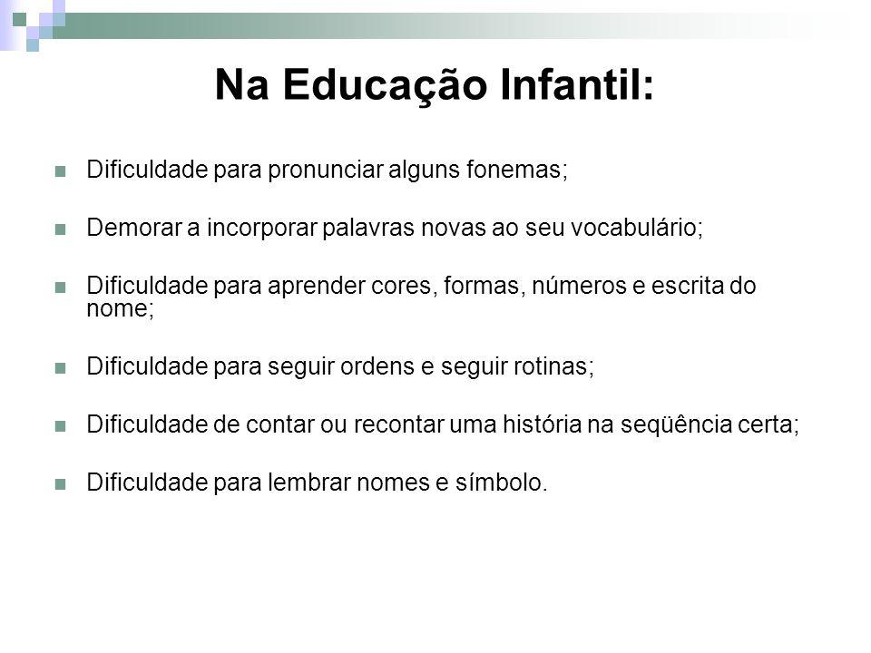 Na Educação Infantil: Dificuldade para pronunciar alguns fonemas;