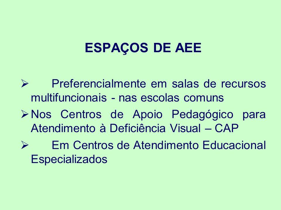 ESPAÇOS DE AEE Preferencialmente em salas de recursos multifuncionais - nas escolas comuns.