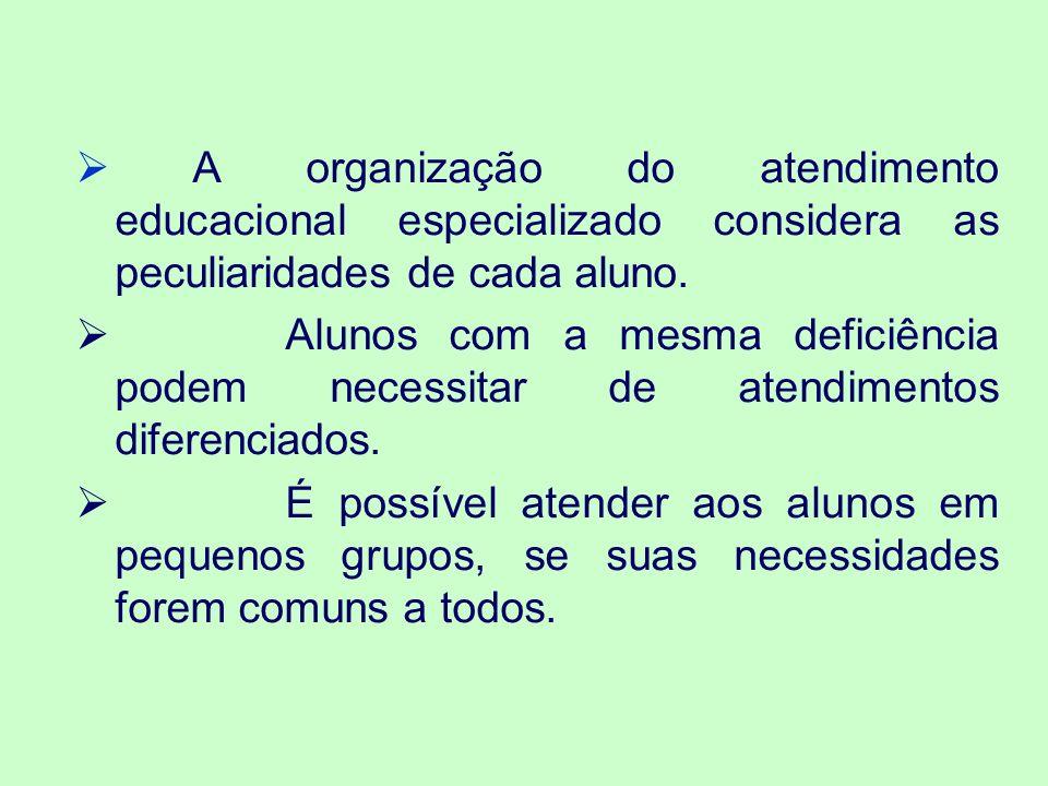 A organização do atendimento educacional especializado considera as peculiaridades de cada aluno.