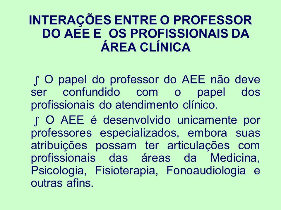 INTERAÇÕES ENTRE O PROFESSOR DO AEE E OS PROFISSIONAIS DA ÁREA CLÍNICA