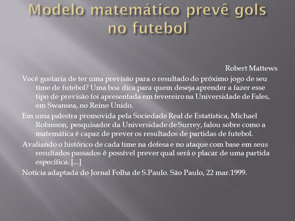 Modelo matemático prevê gols no futebol