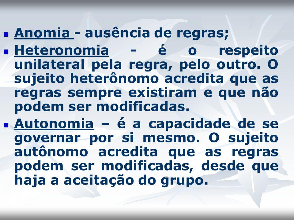 Anomia - ausência de regras;