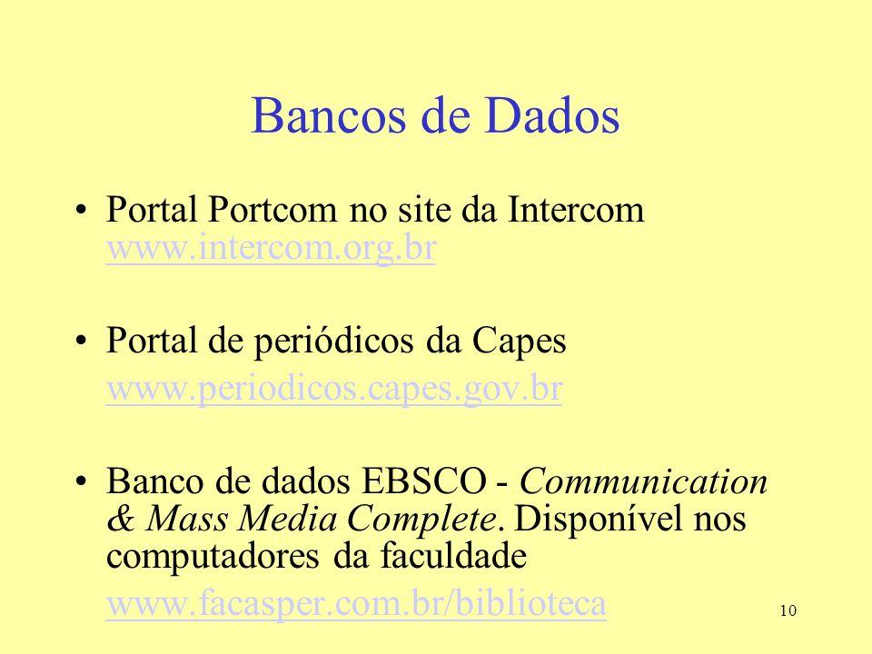 Bancos de Dados Portal Portcom no site da Intercom www.intercom.org.br
