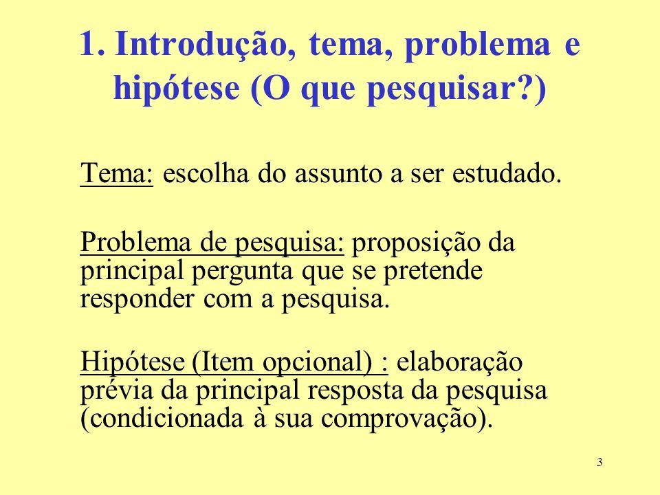 1. Introdução, tema, problema e hipótese (O que pesquisar )