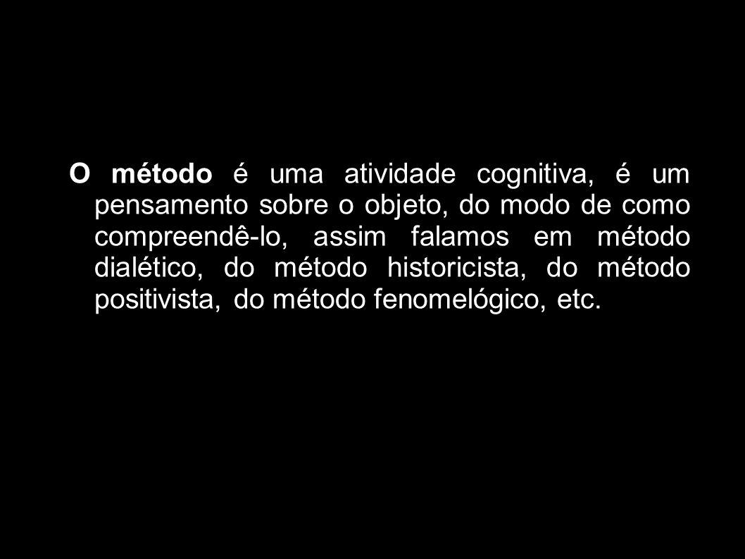 O método é uma atividade cognitiva, é um pensamento sobre o objeto, do modo de como compreendê-lo, assim falamos em método dialético, do método historicista, do método positivista, do método fenomelógico, etc.
