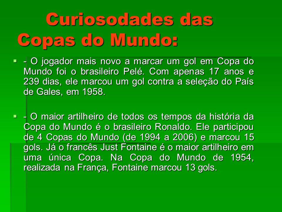Curiosodades das Copas do Mundo: