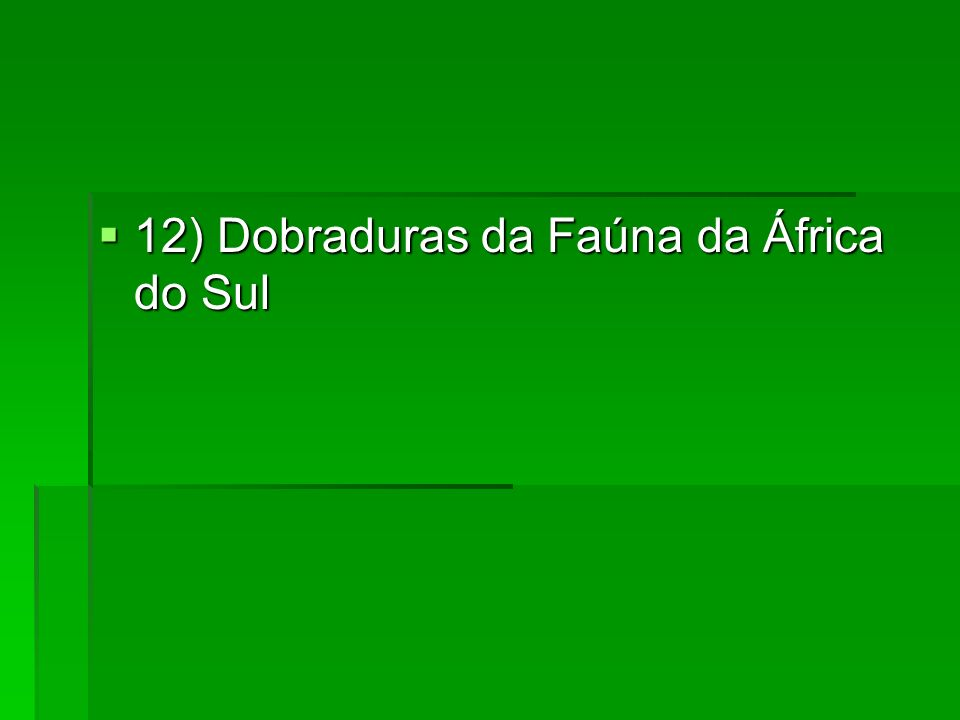 12) Dobraduras da Faúna da África do Sul
