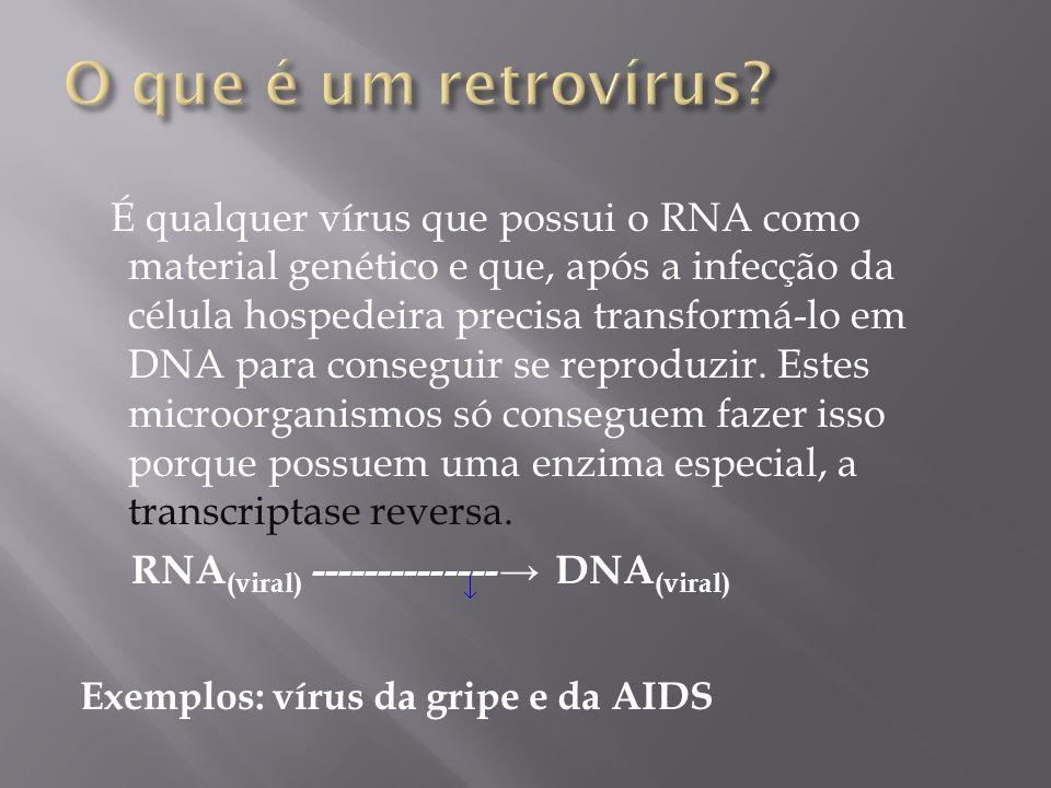 O que é um retrovírus Exemplos: vírus da gripe e da AIDS
