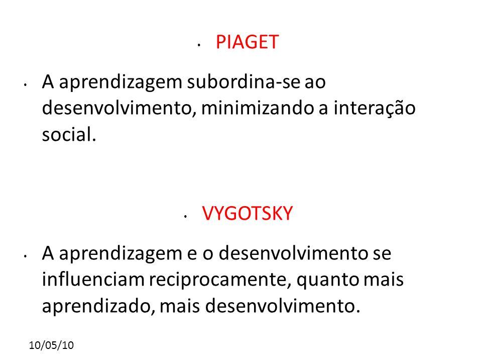 PIAGET A aprendizagem subordina-se ao desenvolvimento, minimizando a interação social. VYGOTSKY.