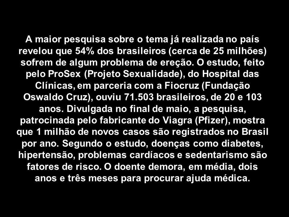 A maior pesquisa sobre o tema já realizada no país revelou que 54% dos brasileiros (cerca de 25 milhões) sofrem de algum problema de ereção.