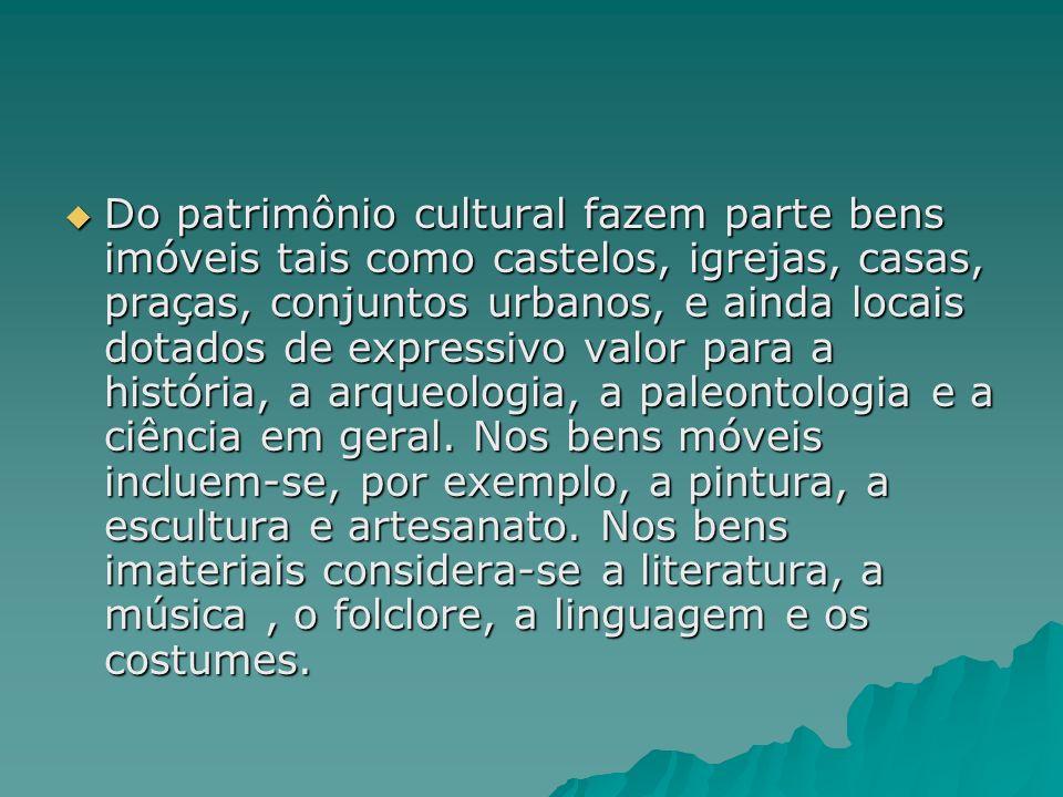 Do patrimônio cultural fazem parte bens imóveis tais como castelos, igrejas, casas, praças, conjuntos urbanos, e ainda locais dotados de expressivo valor para a história, a arqueologia, a paleontologia e a ciência em geral.
