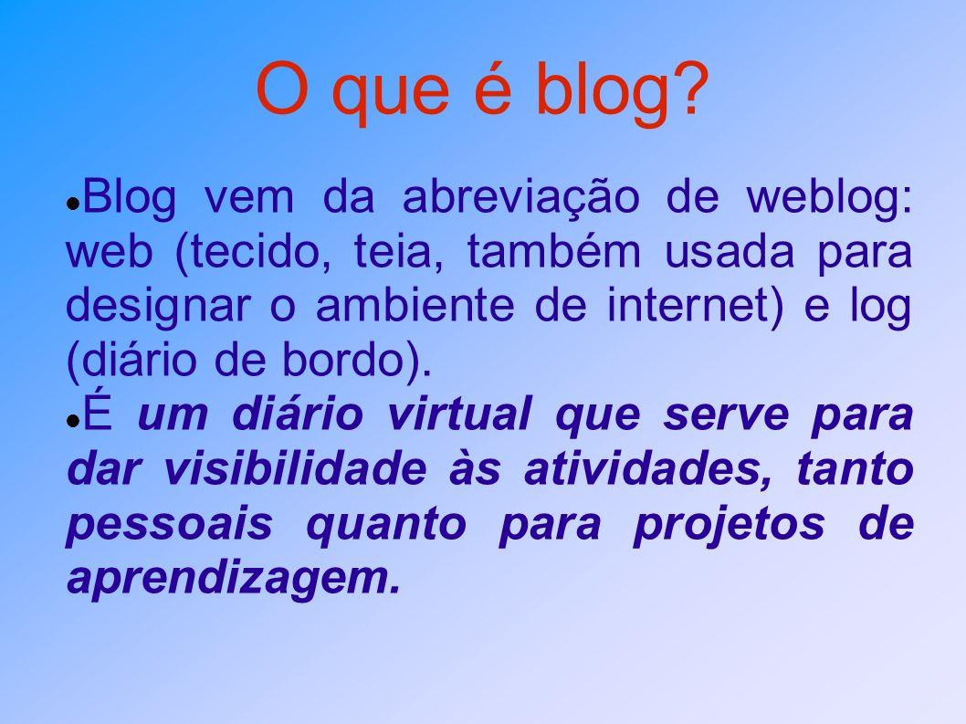 O que é blog Blog vem da abreviação de weblog: web (tecido, teia, também usada para designar o ambiente de internet) e log (diário de bordo).