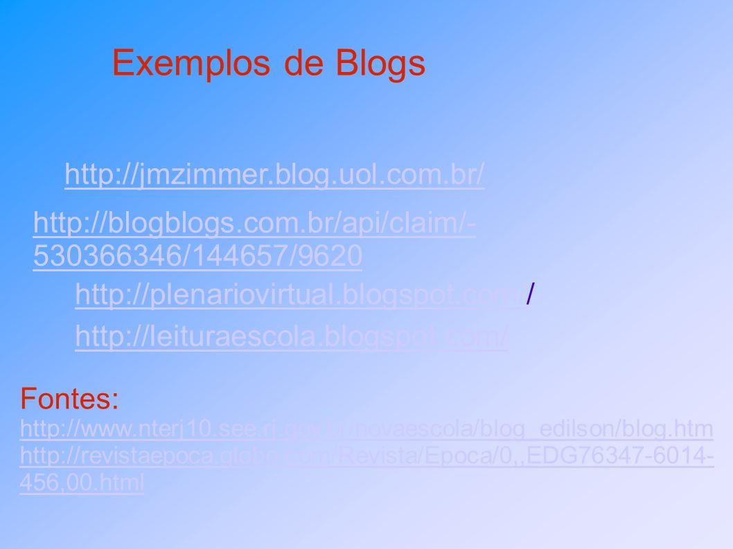 Exemplos de Blogs http://jmzimmer.blog.uol.com.br/