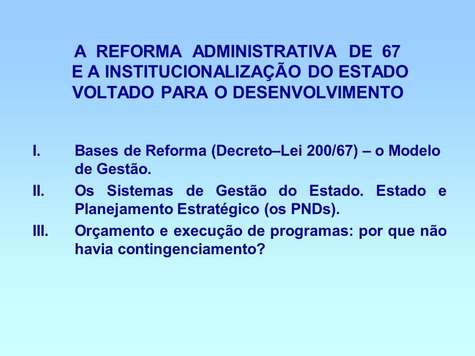 A REFORMA ADMINISTRATIVA DE 67 E A INSTITUCIONALIZAÇÃO DO ESTADO VOLTADO PARA O DESENVOLVIMENTO