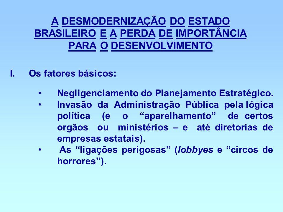 A DESMODERNIZAÇÃO DO ESTADO BRASILEIRO E A PERDA DE IMPORTÂNCIA PARA O DESENVOLVIMENTO