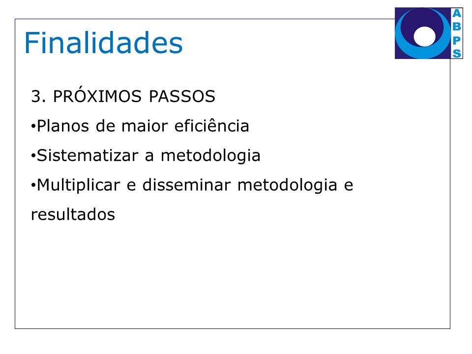 Finalidades 3. PRÓXIMOS PASSOS Planos de maior eficiência