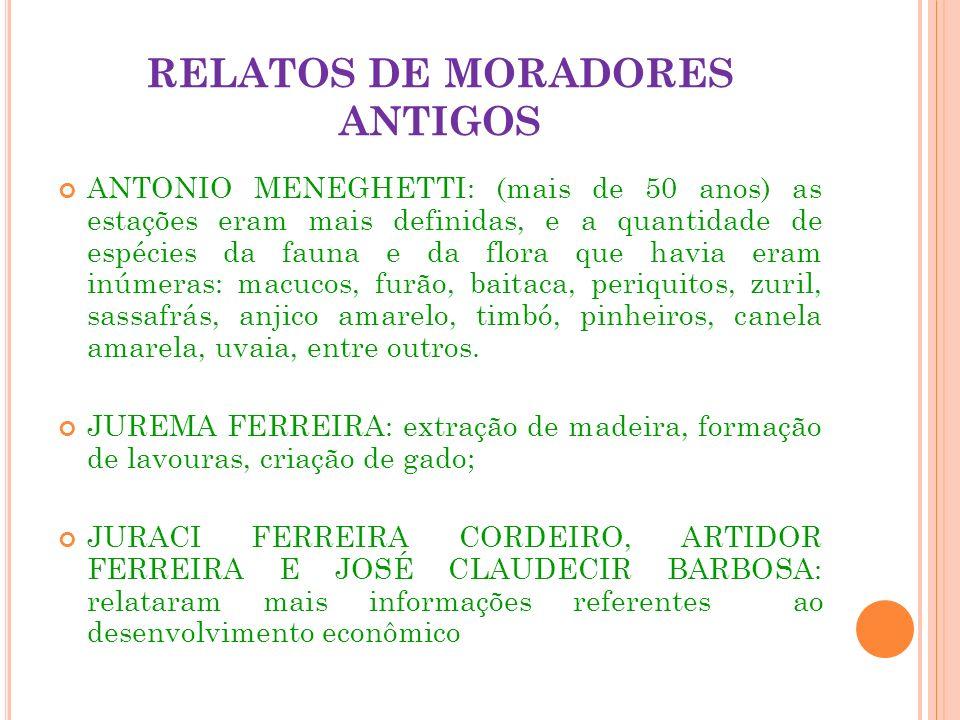 RELATOS DE MORADORES ANTIGOS