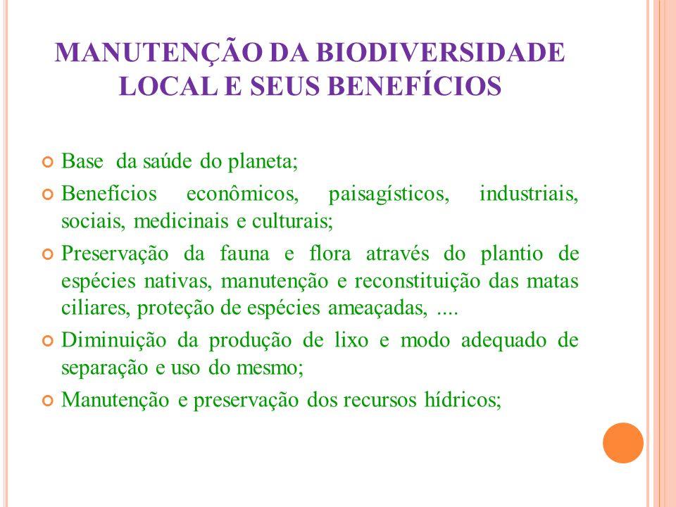 MANUTENÇÃO DA BIODIVERSIDADE LOCAL E SEUS BENEFÍCIOS