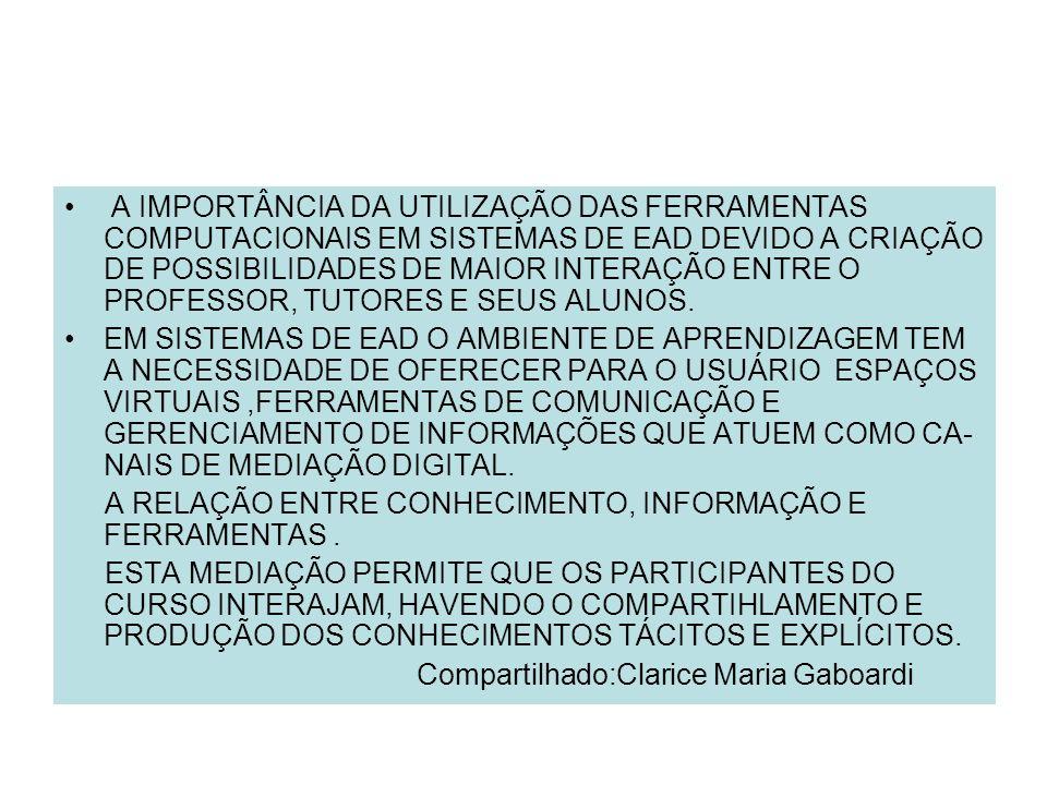 A IMPORTÂNCIA DA UTILIZAÇÃO DAS FERRAMENTAS COMPUTACIONAIS EM SISTEMAS DE EAD DEVIDO A CRIAÇÃO DE POSSIBILIDADES DE MAIOR INTERAÇÃO ENTRE O PROFESSOR, TUTORES E SEUS ALUNOS.