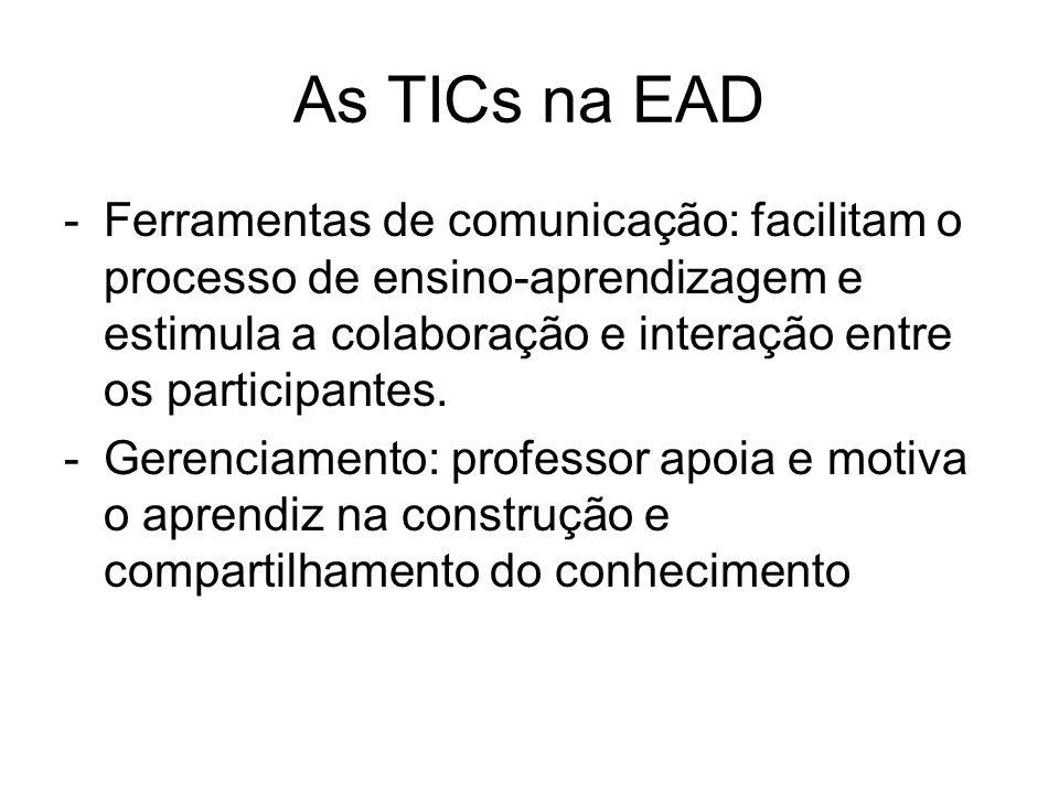 As TICs na EAD Ferramentas de comunicação: facilitam o processo de ensino-aprendizagem e estimula a colaboração e interação entre os participantes.