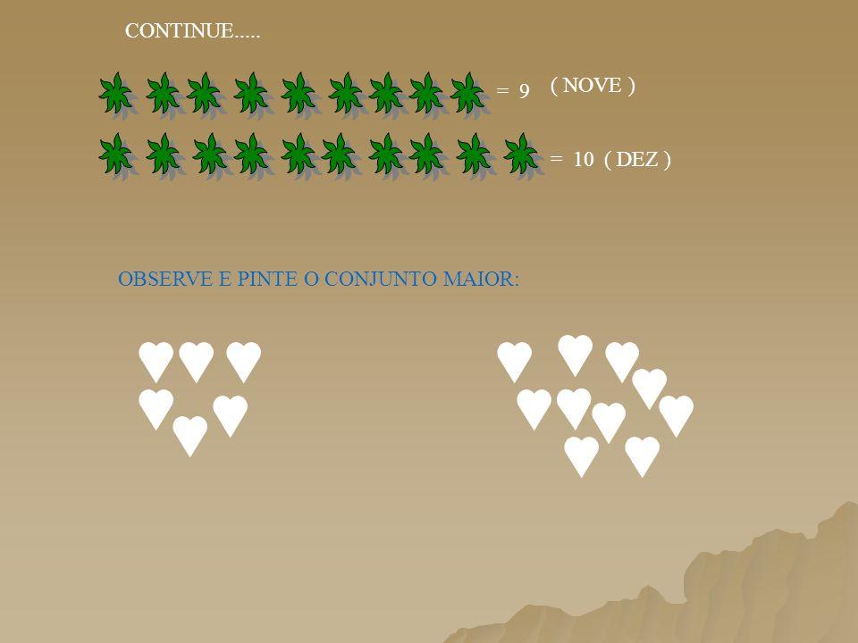 CONTINUE..... ( NOVE ) = 9 = 10 ( DEZ ) OBSERVE E PINTE O CONJUNTO MAIOR: