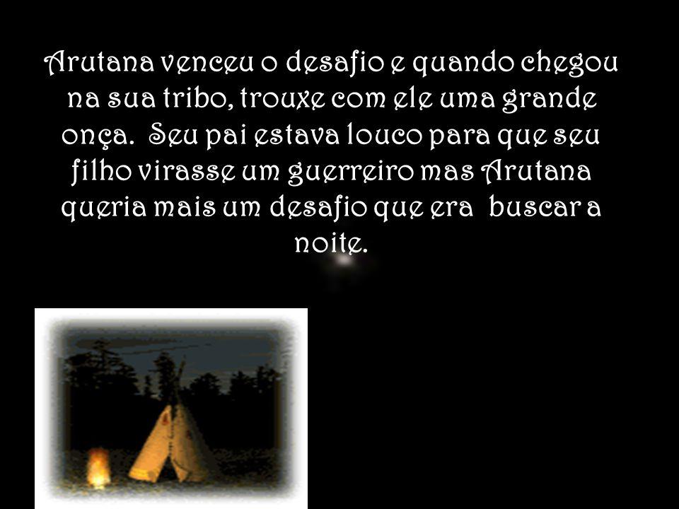 Arutana venceu o desafio e quando chegou na sua tribo, trouxe com ele uma grande onça.