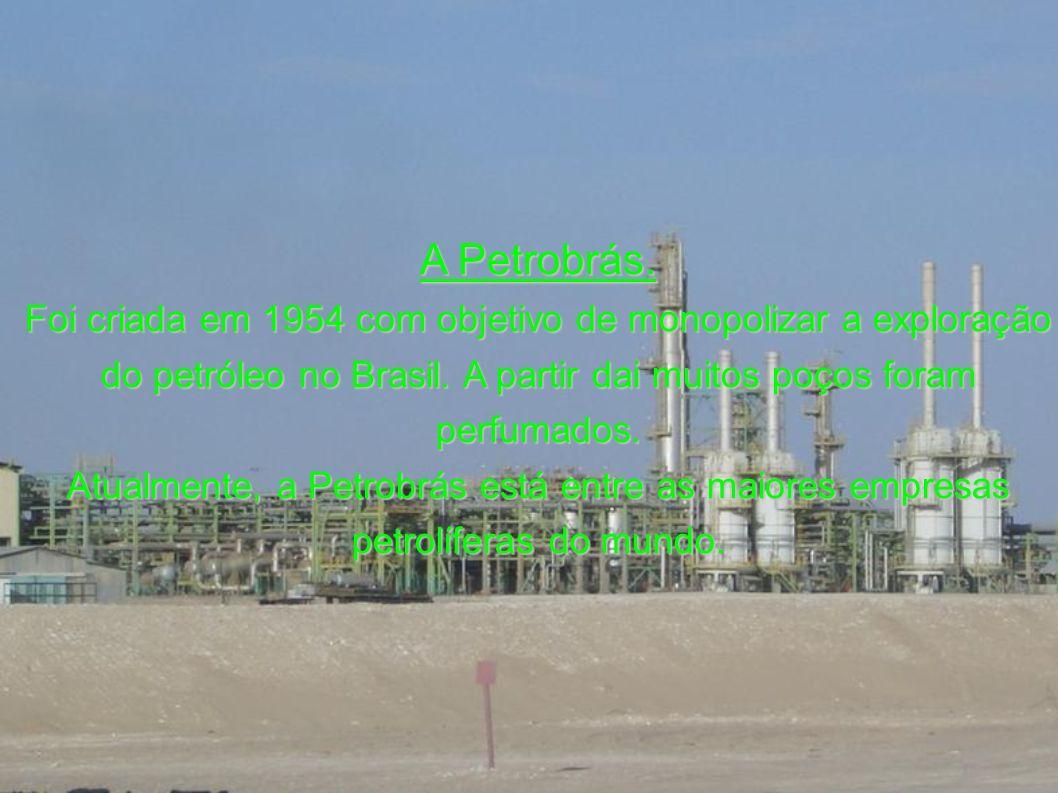 A Petrobrás. Foi criada em 1954 com objetivo de monopolizar a exploração. do petróleo no Brasil. A partir dai muitos poços foram perfumados.