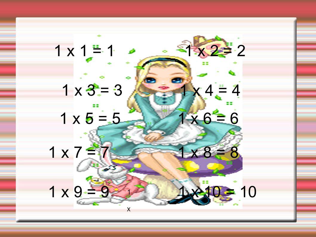 1 x 1 = 11 x 2 = 2. 1 x 3 = 3. 1 x 4 = 4. 1 x 5 = 5. 1 x 6 = 6. 1 x 7 = 7. 1 x 8 = 8. 1 x 9 = 9. 1 x 10 = 10.