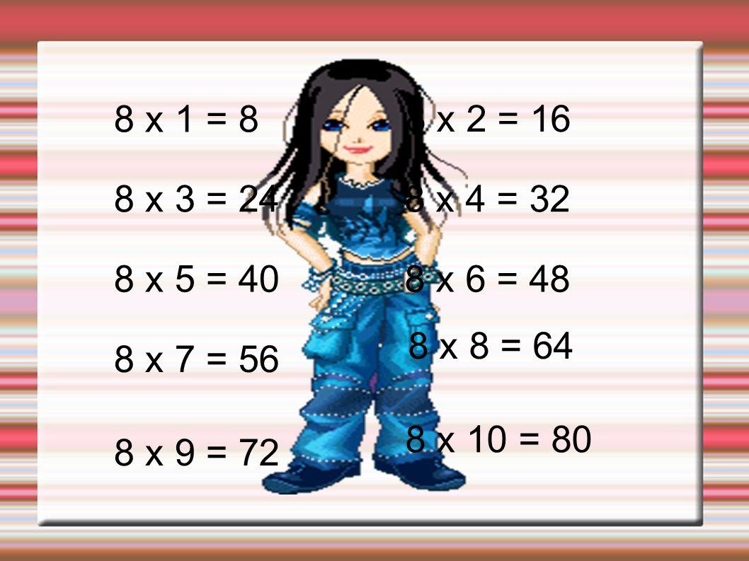 8 x 1 = 88 x 2 = 16. 8 x 3 = 24. 8 x 4 = 32. 8 x 5 = 40. 8 x 6 = 48. 8 x 8 = 64. 8 x 7 = 56. 8 x 10 = 80.