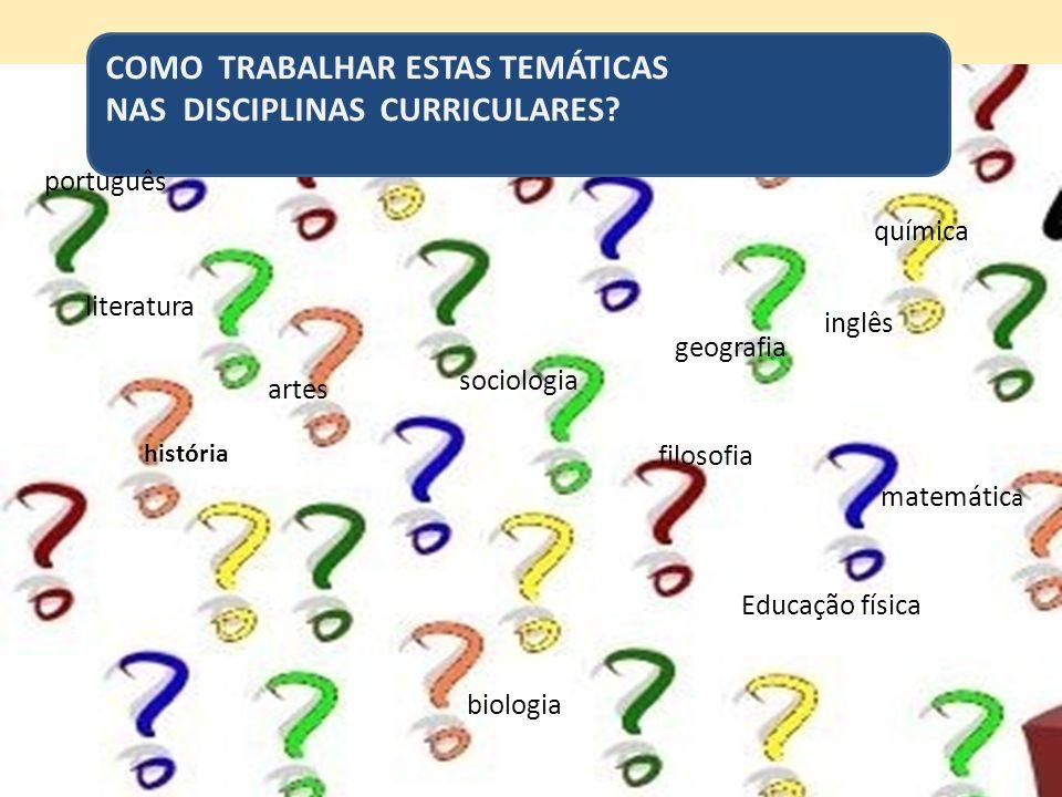 COMO TRABALHAR ESTAS TEMÁTICAS NAS DISCIPLINAS CURRICULARES