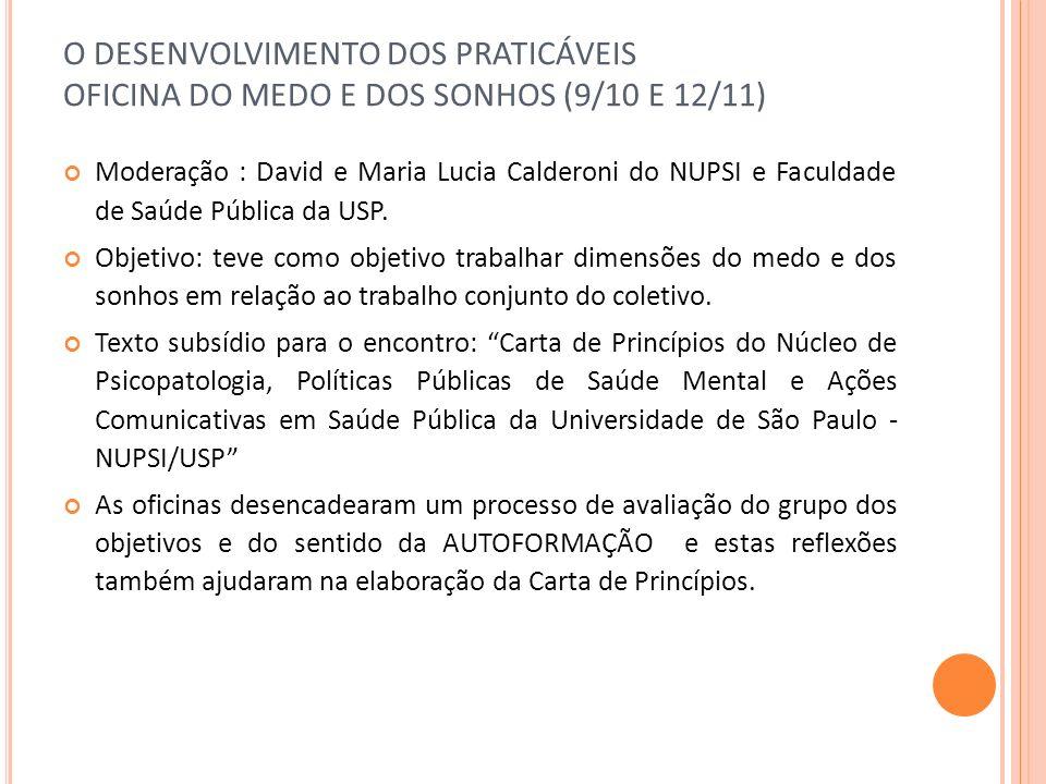 O DESENVOLVIMENTO DOS PRATICÁVEIS OFICINA DO MEDO E DOS SONHOS (9/10 E 12/11)