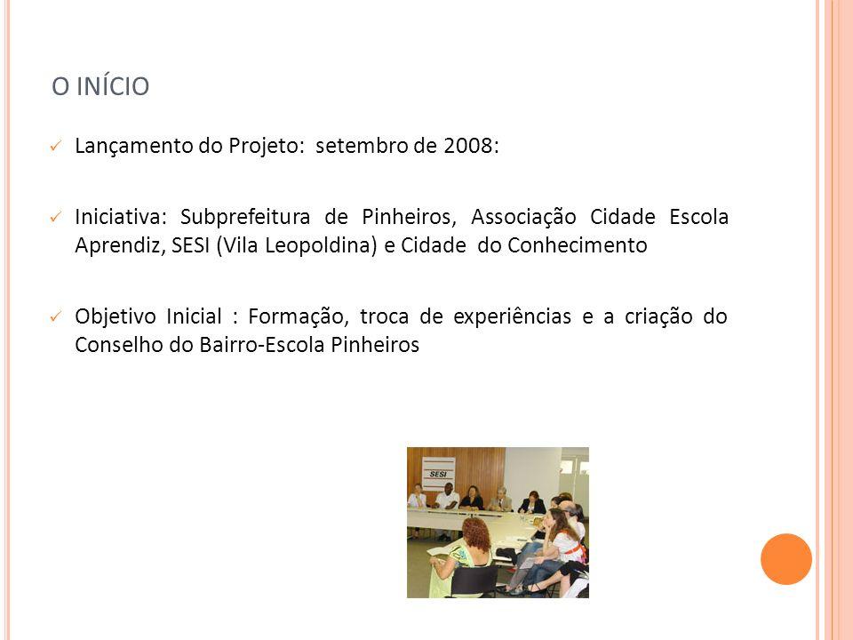 O INÍCIO Lançamento do Projeto: setembro de 2008: