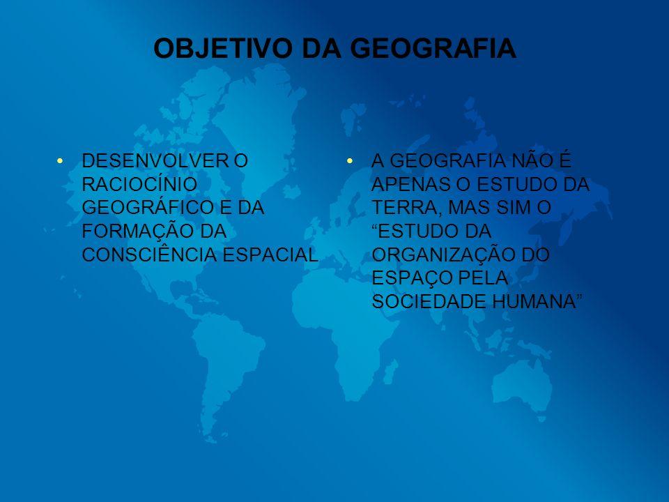 OBJETIVO DA GEOGRAFIA DESENVOLVER O RACIOCÍNIO GEOGRÁFICO E DA FORMAÇÃO DA CONSCIÊNCIA ESPACIAL.