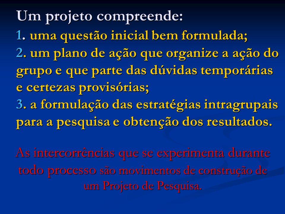 Um projeto compreende: 1. uma questão inicial bem formulada; 2