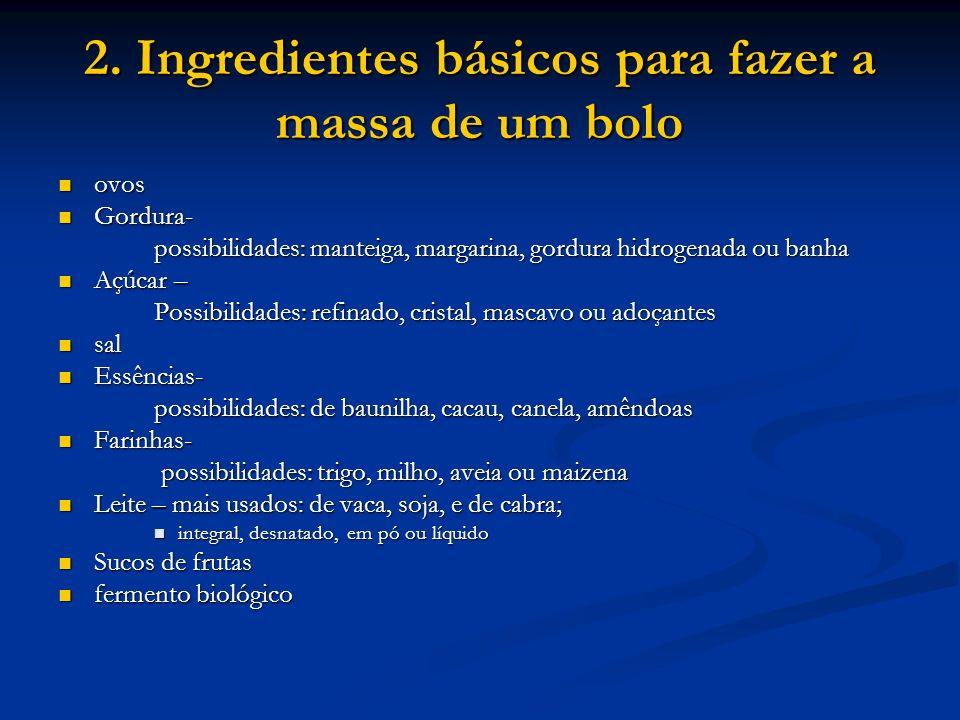 2. Ingredientes básicos para fazer a massa de um bolo