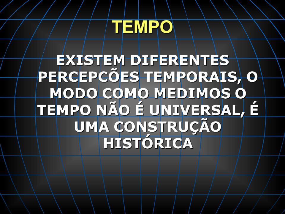 TEMPO EXISTEM DIFERENTES PERCEPCÕES TEMPORAIS, O MODO COMO MEDIMOS O TEMPO NÃO É UNIVERSAL, É UMA CONSTRUÇÃO HISTÓRICA.