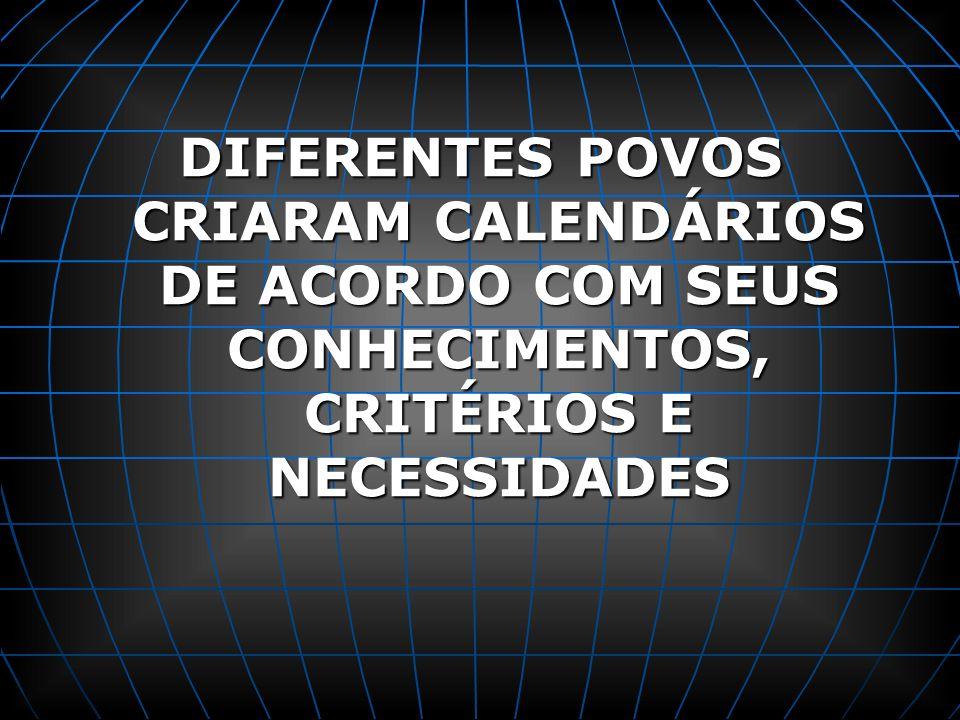 DIFERENTES POVOS CRIARAM CALENDÁRIOS DE ACORDO COM SEUS CONHECIMENTOS, CRITÉRIOS E NECESSIDADES