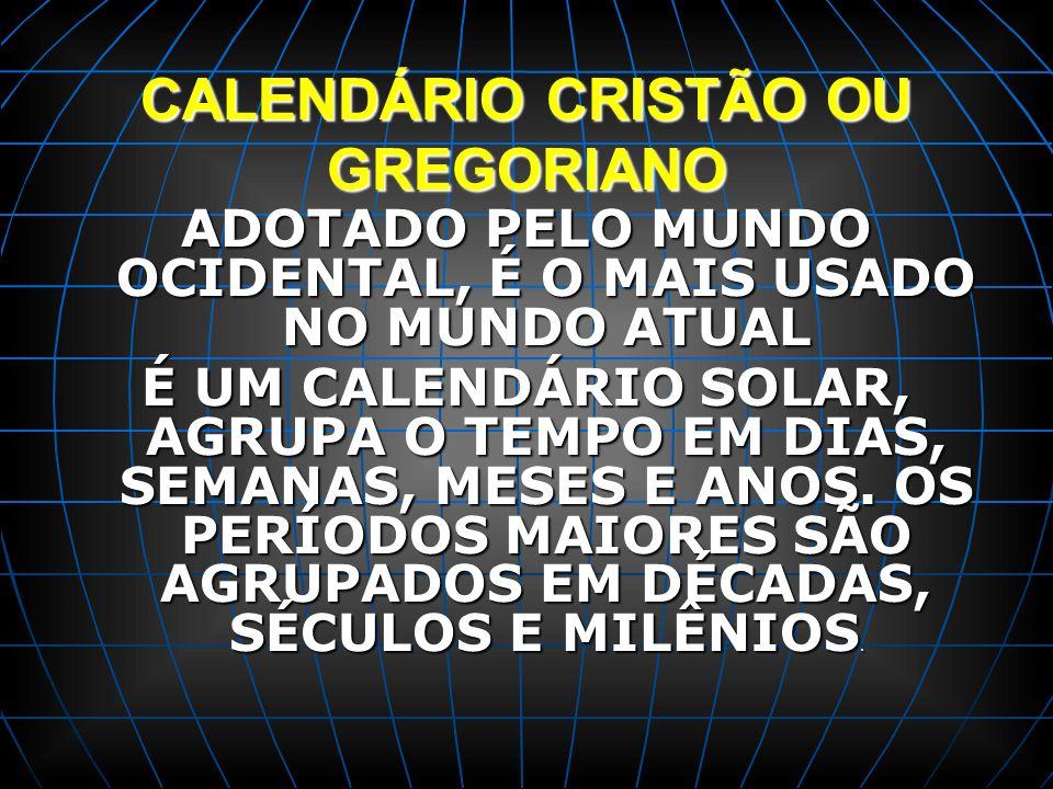 CALENDÁRIO CRISTÃO OU GREGORIANO