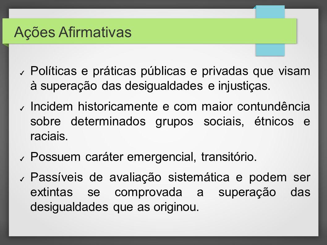 Ações AfirmativasPolíticas e práticas públicas e privadas que visam à superação das desigualdades e injustiças.