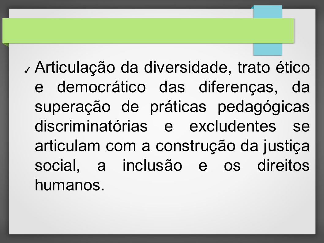 Articulação da diversidade, trato ético e democrático das diferenças, da superação de práticas pedagógicas discriminatórias e excludentes se articulam com a construção da justiça social, a inclusão e os direitos humanos.